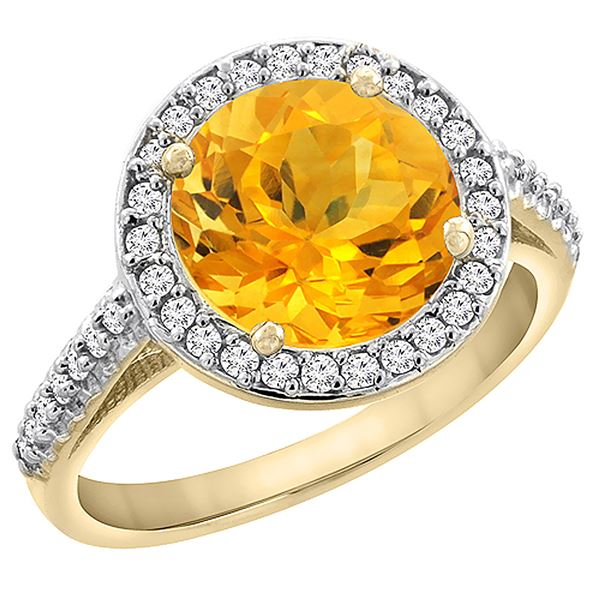 2.44 CTW Citrine & Diamond Ring 14K Yellow Gold - REF-56M2A