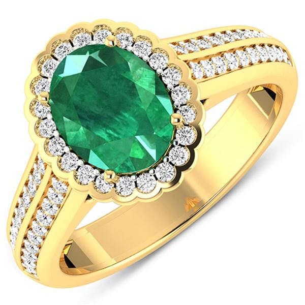 Natural 2.07 CTW Zambian Emerald & Diamond Ring 14K Yellow Gold - REF-92X9K