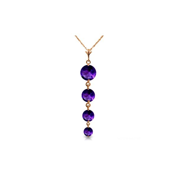 Genuine 3.9 ctw Amethyst Necklace 14KT Rose Gold - REF-23M2T