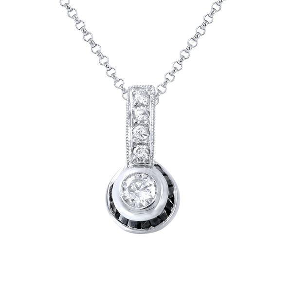 Natural 0.59 CTW Sapphire & Diamond Pendant 18K White Gold - REF-41H4W