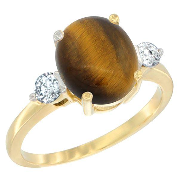 2.50 CTW Tiger Eye & Diamond Ring 10K Yellow Gold - REF-60H2M