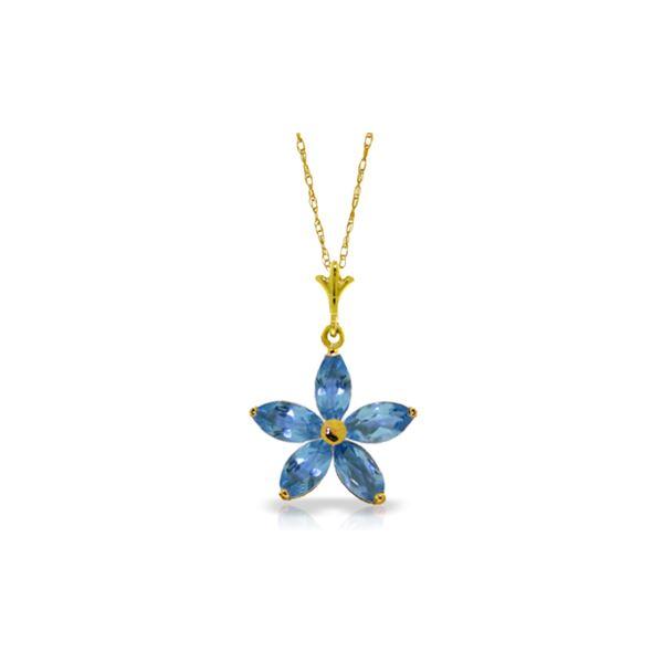 Genuine 1.40 ctw Blue Topaz Necklace 14KT Yellow Gold - REF-25X8M