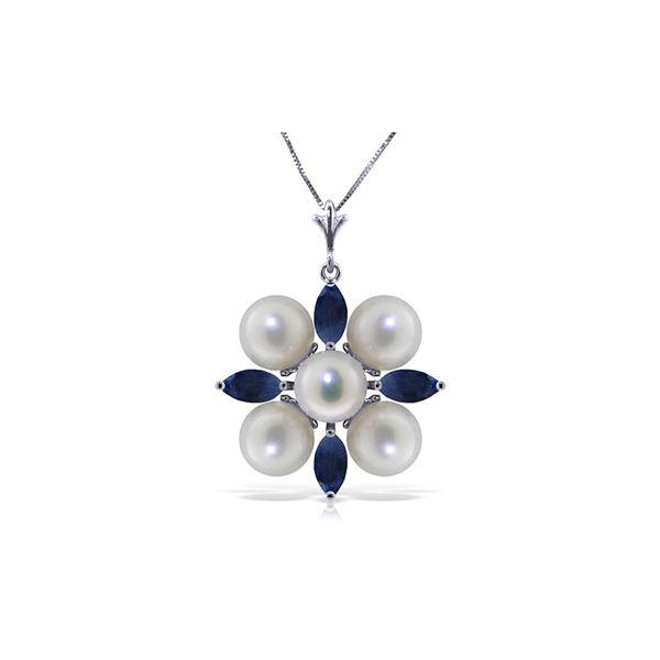 Genuine 6.3 ctw Sapphire & Pearl Necklace 14KT White Gold - REF-63K4V