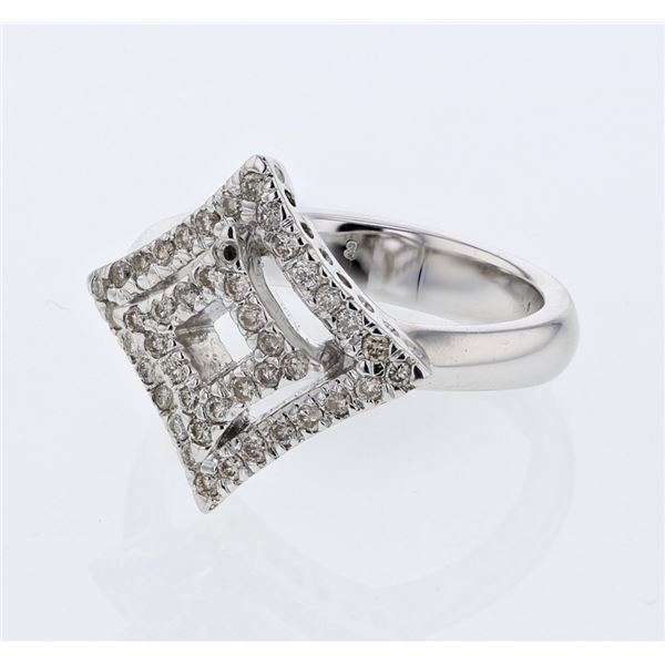 Natural 0.38 CTW Diamond Ring 14K White Gold - REF-68Y4N