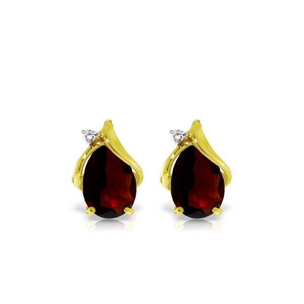 Genuine 4.06 ctw Garnet & Diamond Earrings 14KT Yellow Gold - REF-49T3A