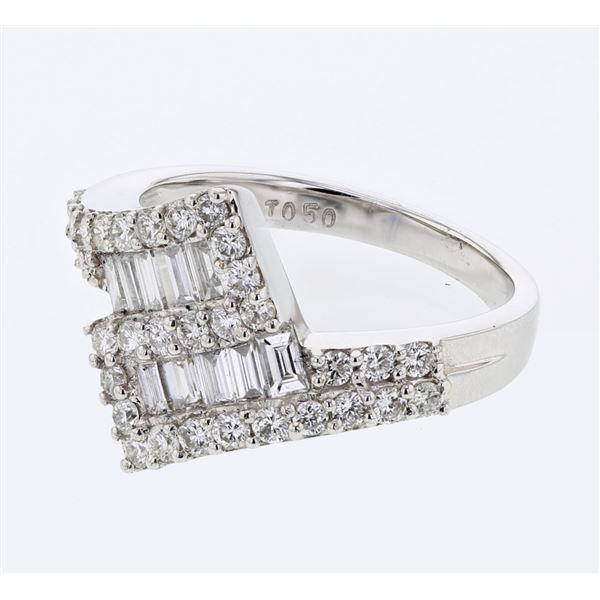 Natural 1.14 CTW Diamond & Baguette Ring 18K White Gold - REF-149R4K