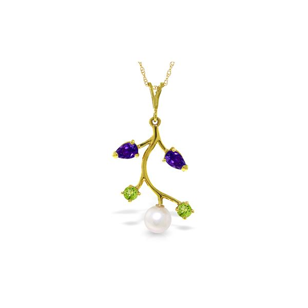 Genuine 2.7 ctw Amethyst, Peridot & Pearl Necklace 14KT Yellow Gold - REF-29K7V
