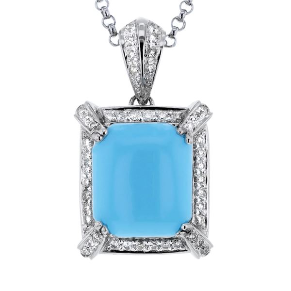 Natural 7.37 CTW Turquoise & Diamond Necklace 14K White Gold - REF-115Y2N