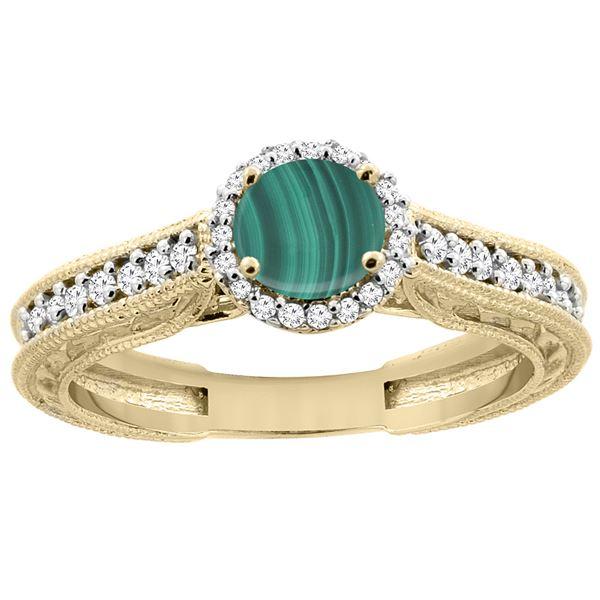 2.42 CTW Malachite & Diamond Ring 14K Yellow Gold - REF-56Y6V