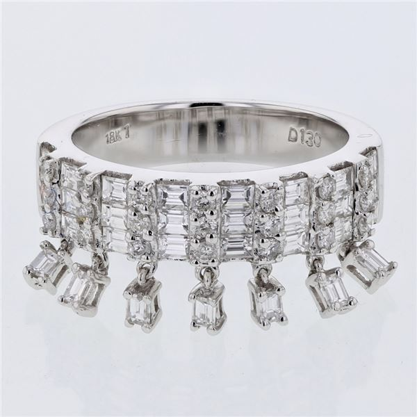 Natural 1.31 CTW Baguette & Diamond Ring 18K White Gold - REF-172M8F