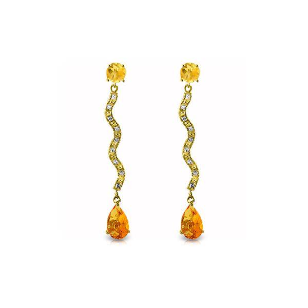 Genuine 4.35 ctw Citrine & Diamond Earrings 14KT Yellow Gold - REF-62N3R
