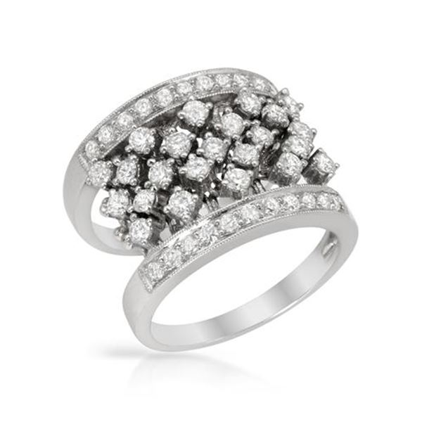 Natural 1.44 CTW Diamond Ring 18K White Gold - REF-242Y3N
