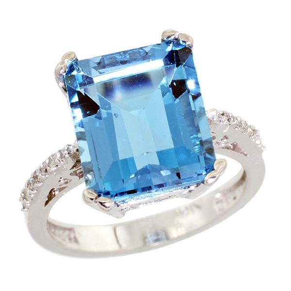 5.52 CTW Swiss Blue Topaz & Diamond Ring 10K White Gold - REF-46V3R