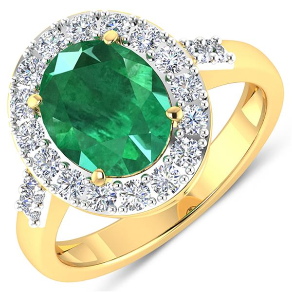 Natural 2.75 CTW Zambian Emerald & Diamond Ring 14K Yellow Gold - REF-130W5X
