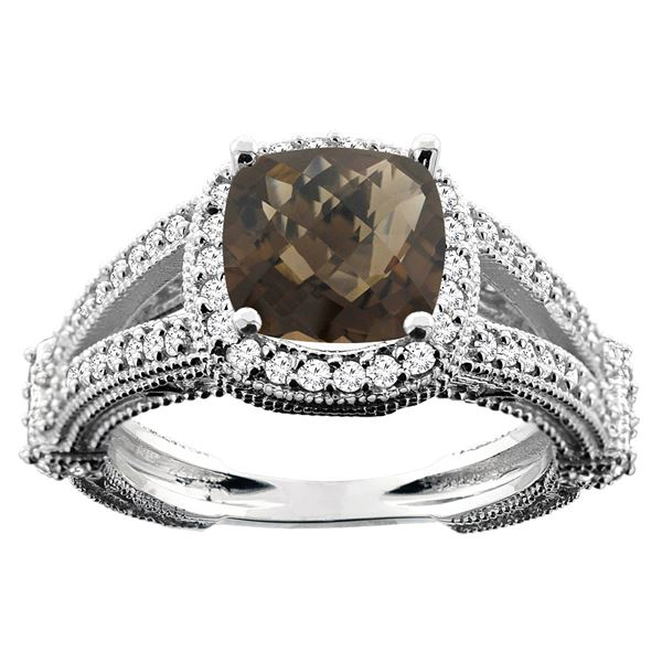 4.10 CTW Quartz & Diamond Ring 14K White Gold - REF-55N3Y