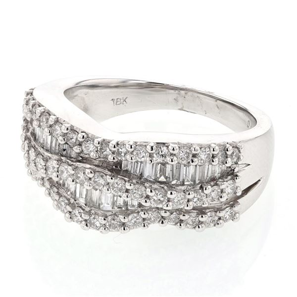 Natural 1.20 CTW Diamond & Baguette Ring 18K White Gold - REF-197R3K