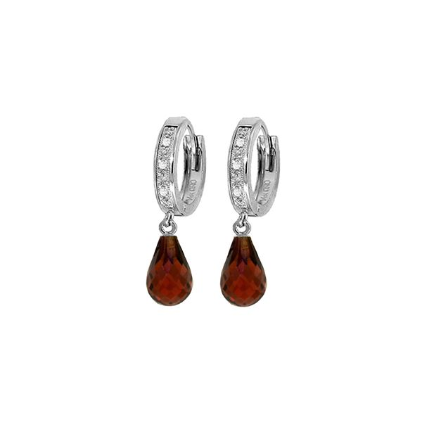 Genuine 4.54 ctw Garnet & Diamond Earrings 14KT White Gold - REF-52T2A
