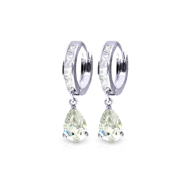 Genuine 4.2 ctw White Topaz Earrings 14KT White Gold - REF-50M9T