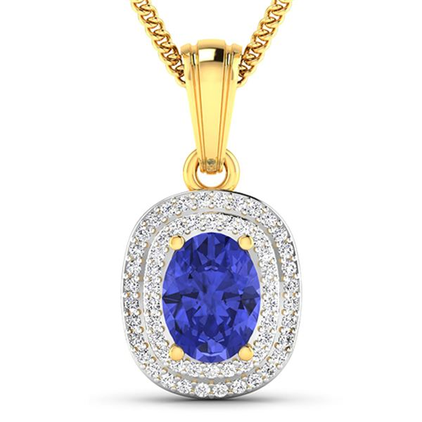Natural 2.56 CTW Tanzanite & Diamond Pendant 14K Yellow Gold - REF-52M2T