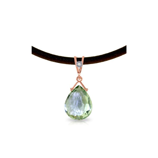 Genuine 6.51 ctw Green Amethyst & Diamond Necklace 14KT Rose Gold - REF-26R9P