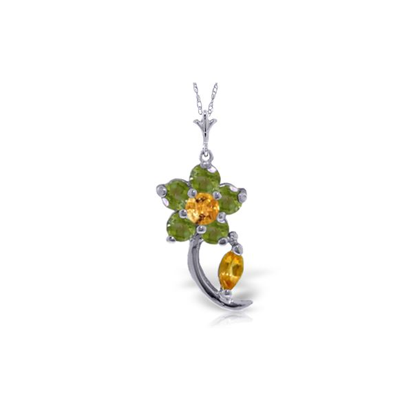 Genuine 0.87 ctw Citrine & Peridot Necklace 14KT White Gold - REF-25K4V