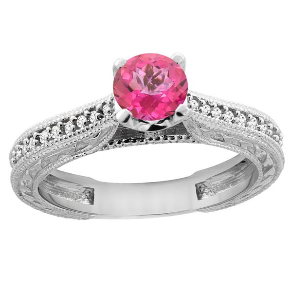 0.71 CTW Pink Topaz & Diamond Ring 14K White Gold - REF-53N2Y