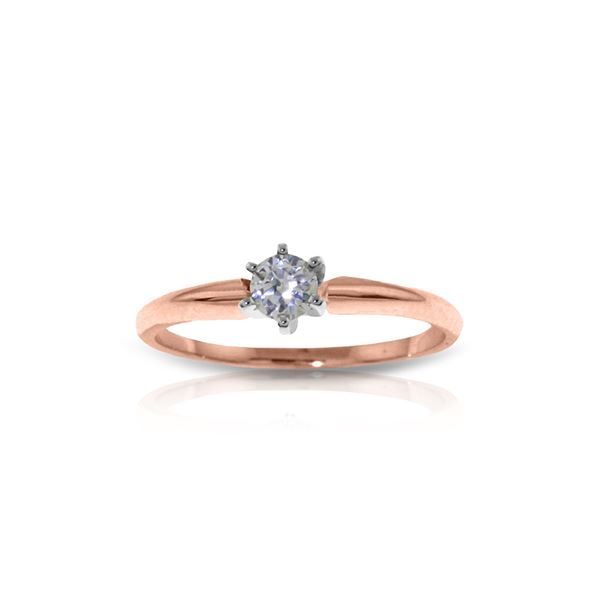 Genuine 0.15 ctw Diamond Anniversary Ring 14KT Rose Gold - REF-76T2A