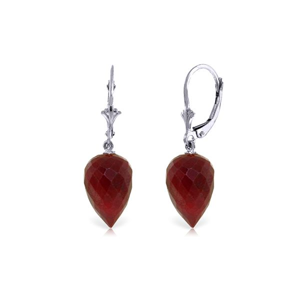 Genuine 26.1 ctw Ruby Earrings 14KT White Gold - REF-37T8A