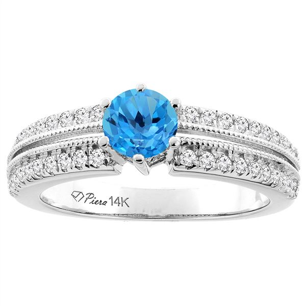 1.30 CTW Swiss Blue Topaz & Diamond Ring 14K White Gold - REF-67K3W