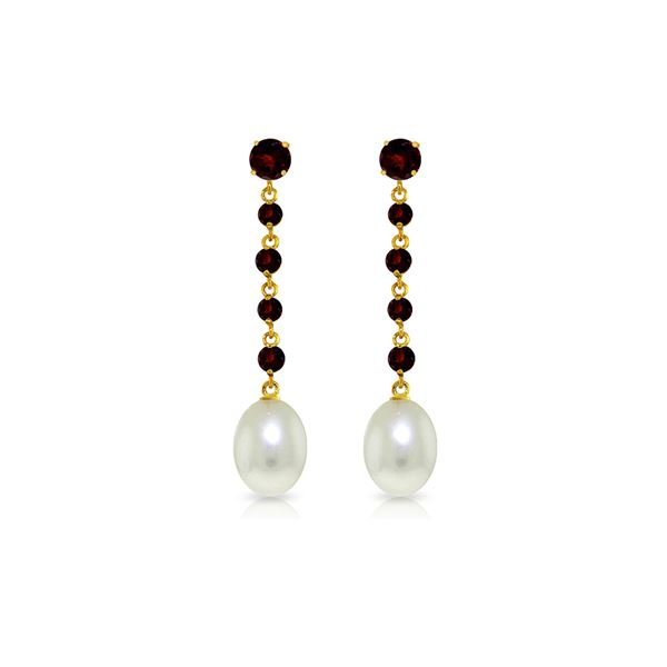 Genuine 10 ctw Garnet & Pearl Earrings 14KT Yellow Gold - REF-32A4K