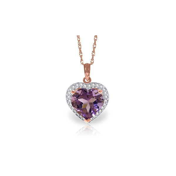 Genuine 3.24 ctw Amethyst & Diamond Necklace 14KT Rose Gold - REF-59W3Y