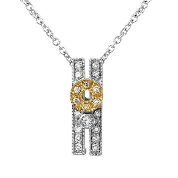 Natural 0.23 CTW Diamond & Pendant 14K Two Tone Yellow Gold - REF-42R3K