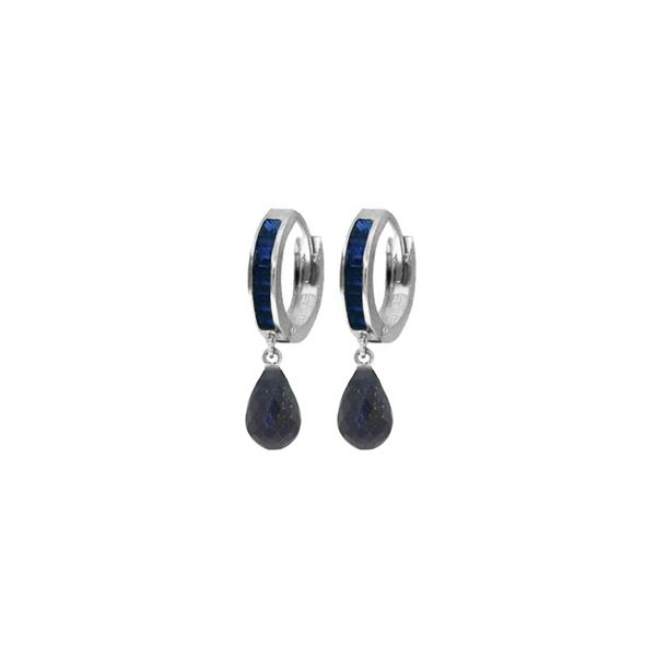 Genuine 7.8 ctw Sapphire Earrings 14KT White Gold - REF-45T8A