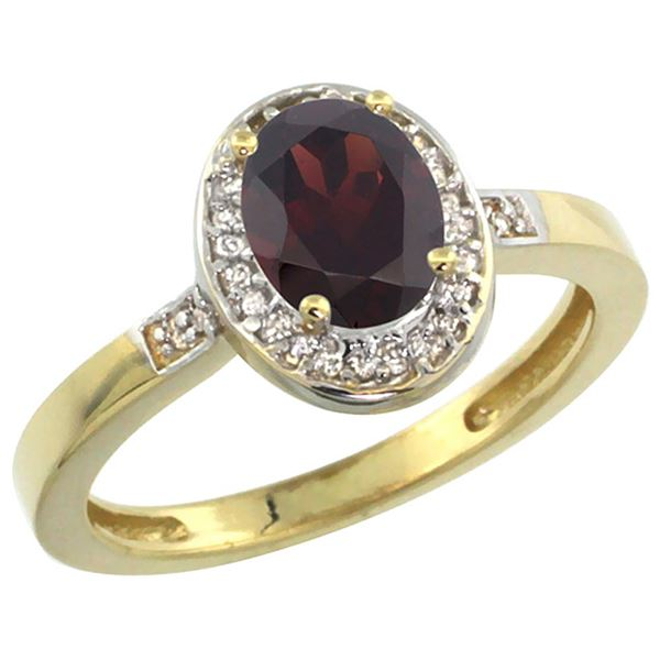 1.15 CTW Garnet & Diamond Ring 14K Yellow Gold - REF-37X9M