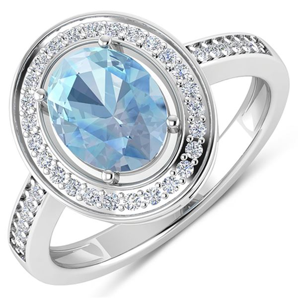 Natural 1.62 CTW Aquamarine & Diamond Ring 14K White Gold - REF-59M8T