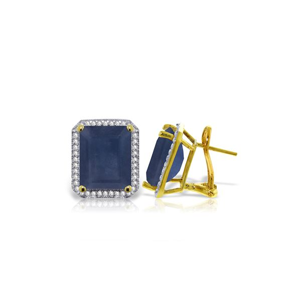 Genuine 13.2 ctw Sapphire & Diamond Earrings 14KT Yellow Gold - REF-197V5W