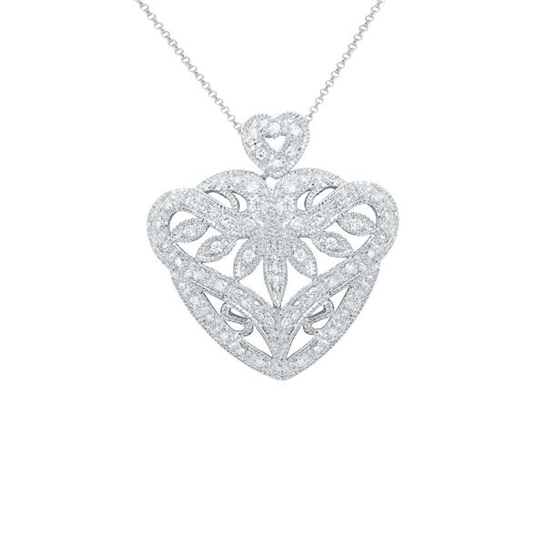 Natural 0.44 CTW Diamond Necklace 18K White Gold - REF-113M4F