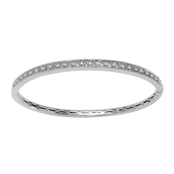 Natural 0.13 CTW Diamond Bangle 14K White Gold - REF-114Y3N