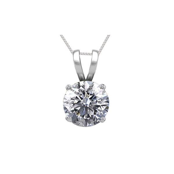 14K White Gold 0.75 ct Natural Diamond Solitaire Necklace - REF-195K6Y