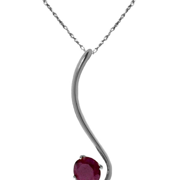 Genuine 0.55 ctw Ruby Necklace 14KT White Gold - REF-28F3Z