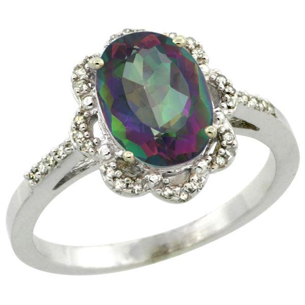 1.94 CTW Mystic Topaz & Diamond Ring 14K White Gold - REF-45K8W