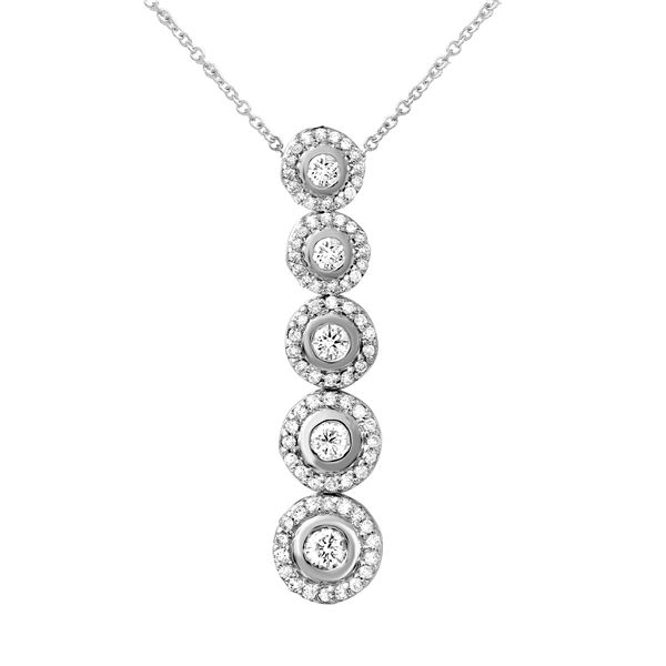 Natural 1 CTW Diamond Necklace 14K White Gold - REF-146X7T