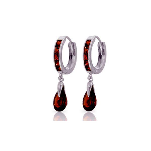 Genuine 4.3 ctw Garnet Earrings 14KT White Gold - REF-53W8Y