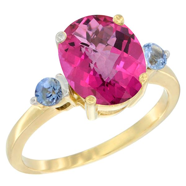 2.64 CTW Pink Topaz & Blue Sapphire Ring 10K Yellow Gold - REF-24Y5V