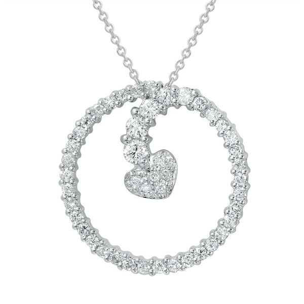 Natural 0.70 CTW Diamond Necklace 14K White Gold - REF-69H3W