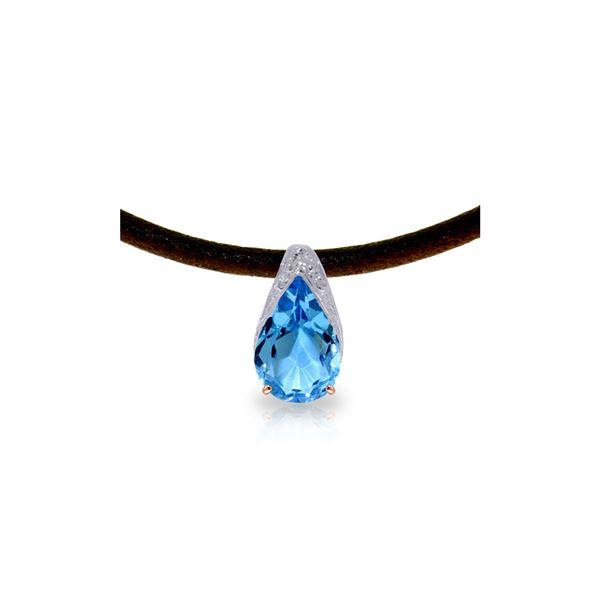 Genuine 6 ctw Blue Topaz Necklace 14KT Rose Gold - REF-30Z5N