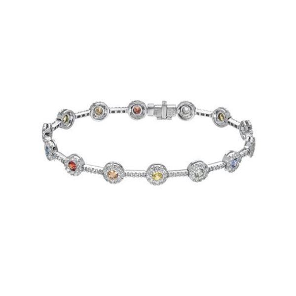 Natural 3.39 CTW Multi-Sapphire & Diamond Bracelet 18K White Gold - REF-206R3K