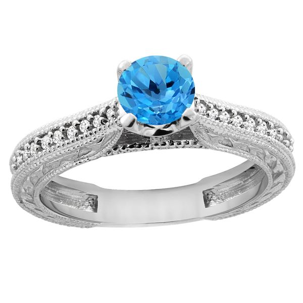 0.71 CTW Swiss Blue Topaz & Diamond Ring 14K White Gold - REF-53X2M