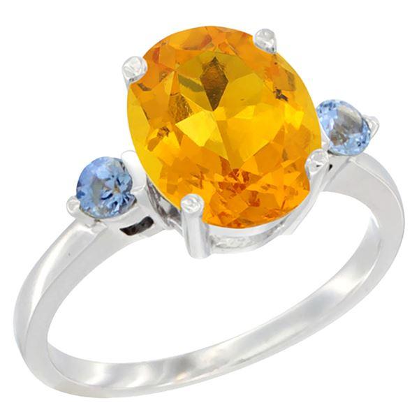 2.64 CTW Citrine & Blue Sapphire Ring 14K White Gold - REF-32N3Y