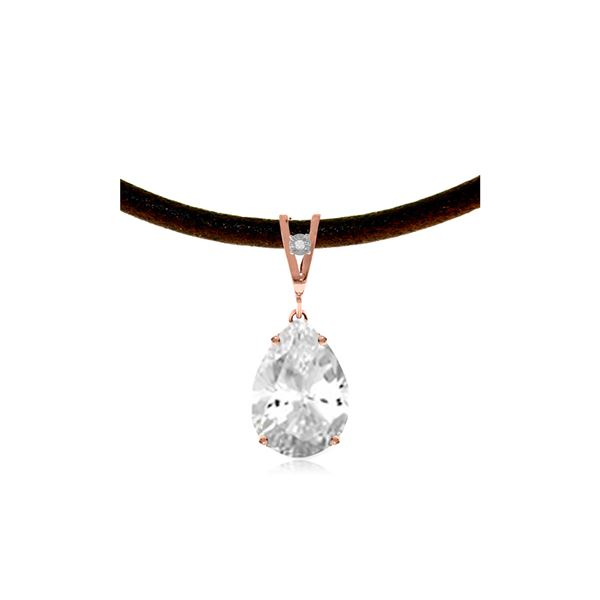 Genuine 6.01 ctw White Topaz & Diamond Necklace 14KT Rose Gold - REF-32T3A